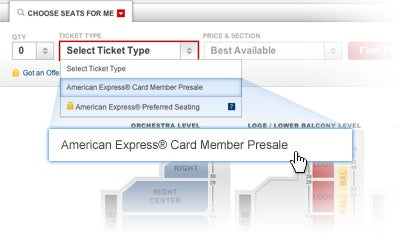 presale american express pink tickets