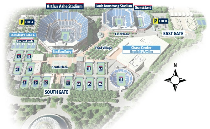 Map Us Open Tennis