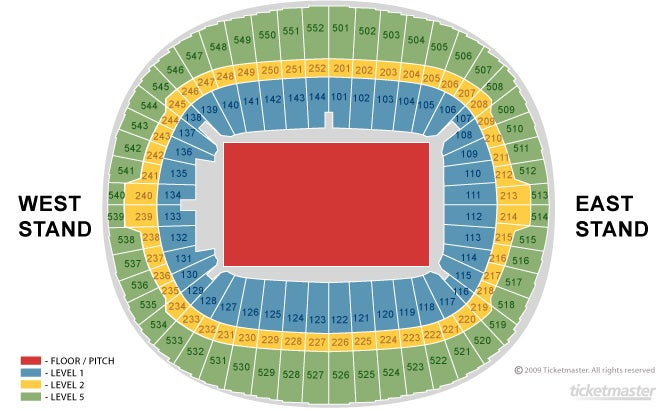 England v USA Seating Plan at Wembley Stadium