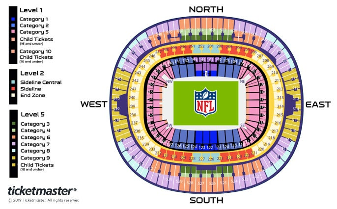 NFL: Cincinnati Bengals v Los Angeles Rams Seating Plan at Wembley Stadium